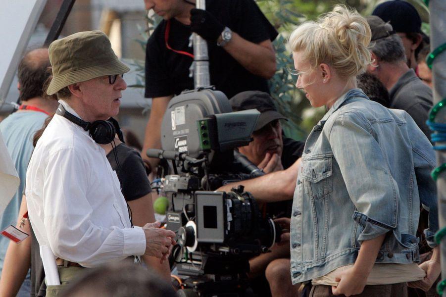 """Sur le tournage de """"Vicky Cristina Barcelona"""" avec Woody Allen."""