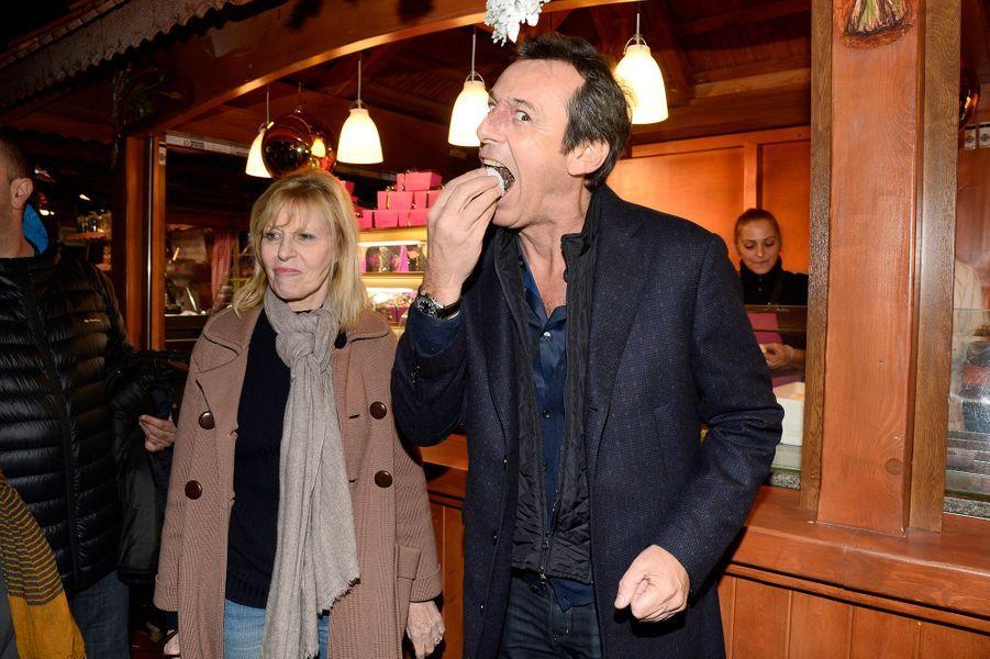 Chantal Ladesou et Jean-Luc Reichmann à l'inauguration du village de Noël des Champs Elysées à Paris, le 14 novembre 2014