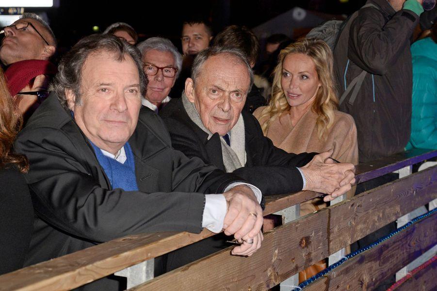 Daniel Russo et Michel Rocard à l'inauguration du village de Noël des Champs Elysées à Paris, le 14 novembre 2014