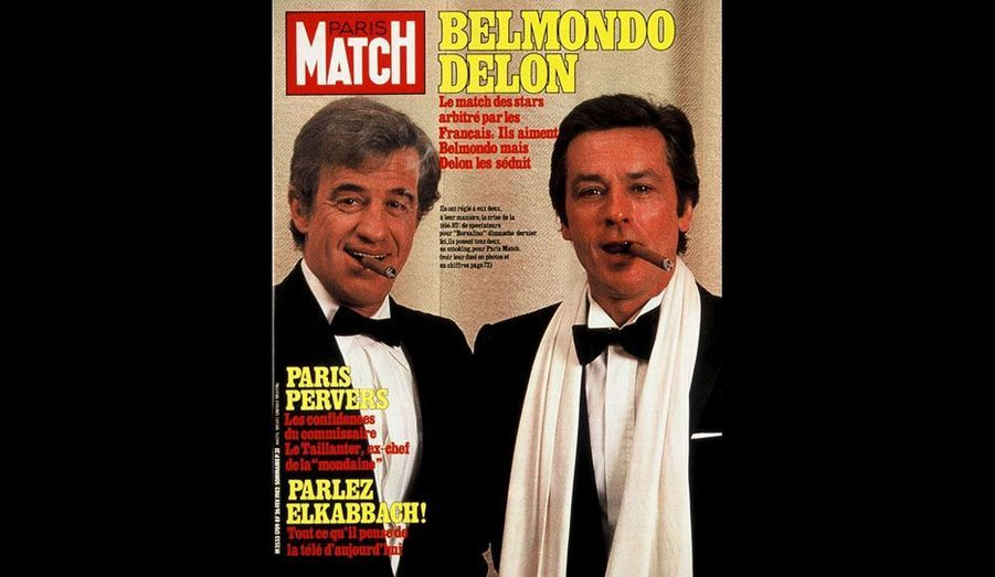 Le 26 février 1982, avec Alain Delon
