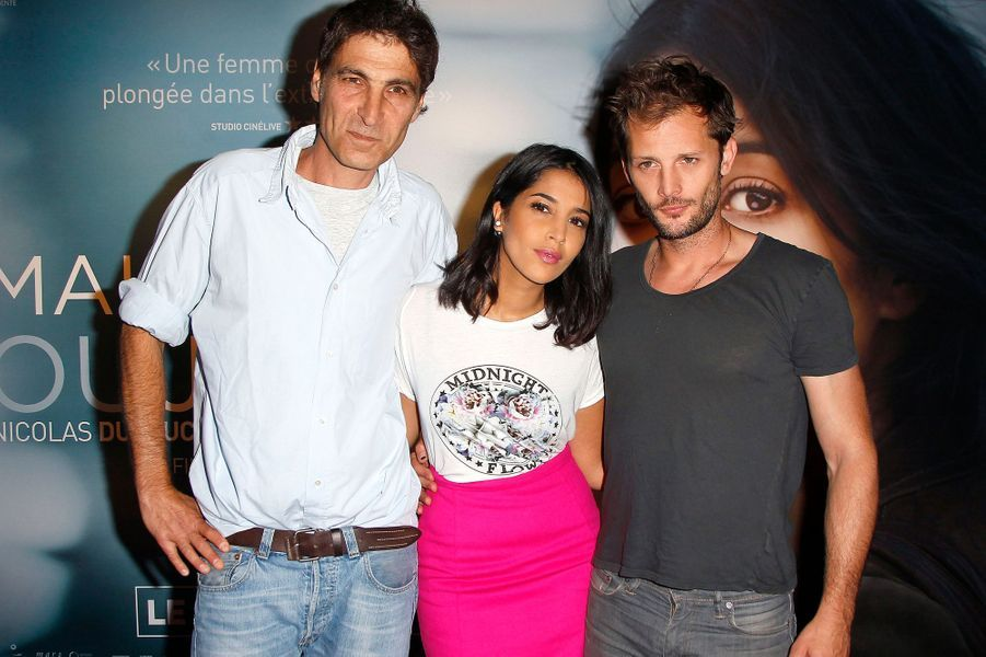Serge Frydman, Leïla Bekhti et Nicolas Duvauchelle à l'avant-première de «Maintenant ou jamais» à Paris le 2 septembre 2014.