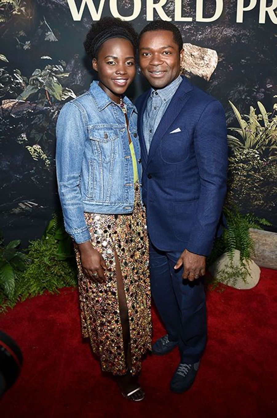 """Lupita Nyong'o et David Oyelowo à l'avant-première du """"Livre de la Jungle"""" à Los Angeles, le 4 avril 2016"""