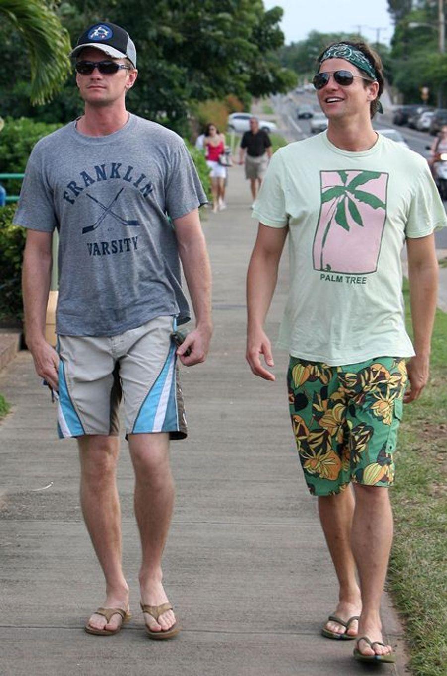 Neil Patrick Harris et David Burtka à Hawaï, le 1er janvier 2008.