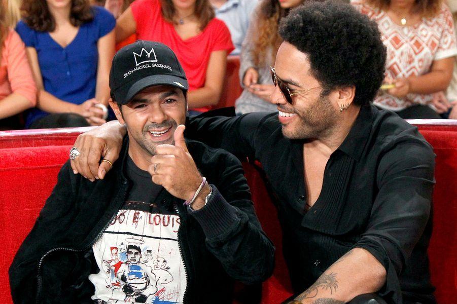 Jamel Debbouze et Lenny Kravitz lors de l'enregistrement de «Vivement Dimanche» Omar Sy à Paris, le 1er octobre 2014