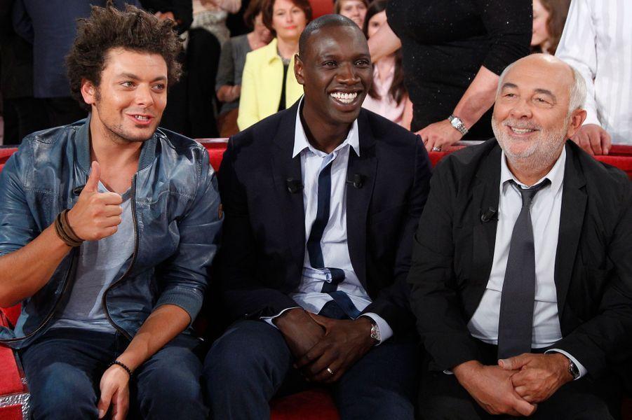 Kev Adams, Omar Sy et Gérard Jugnot lors de l'enregistrement de «Vivement Dimanche» Omar Sy à Paris, le 1er octobre 2014