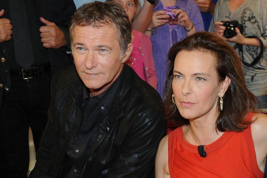 Bruno Wolkowitch et Carole Bouquet lors de l'enregistrement de «Vivement Dimanche» Sophie Marceau sur France 2 le 17 septembre 2014.