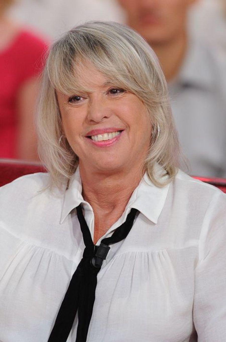 Christine Haas lors de l'enregistrement de «Vivement Dimanche» Sophie Marceau sur France 2 le 17 septembre 2014.