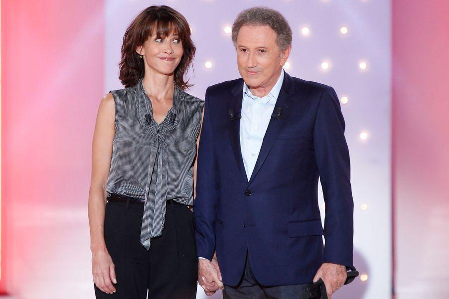 Sophie Marceau et Michel Drucker lors de l'enregistrement de «Vivement Dimanche» sur France 2 le 17 septembre 2014.