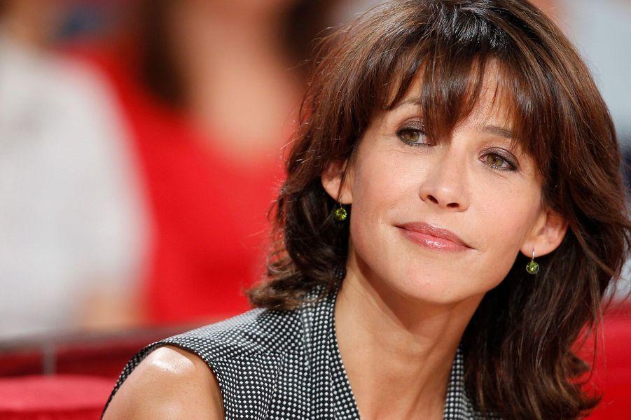 Sophie Marceau lors de l'enregistrement de «Vivement Dimanche» sur France 2 le 17 septembre 2014.