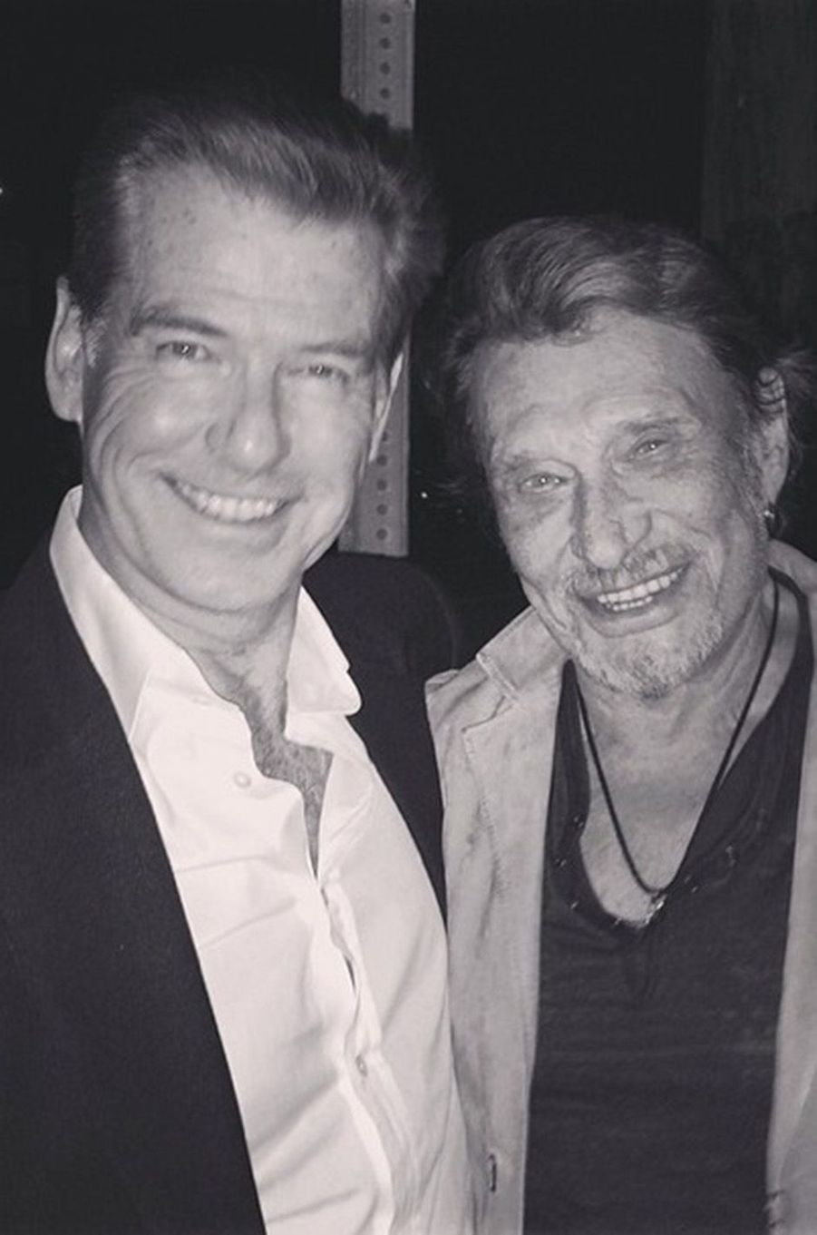Johnny Hallyday et Pierce Brosnan