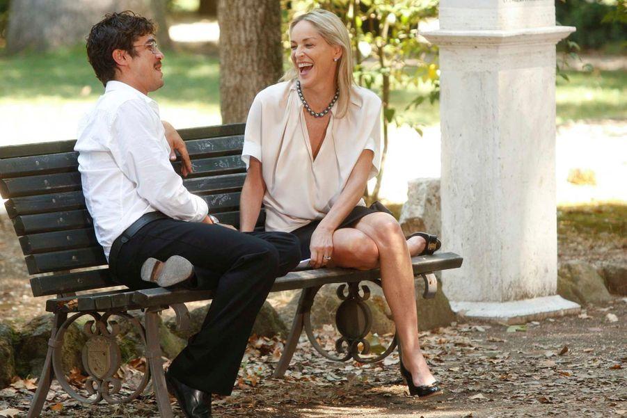 Sharon Stone et Riccardo Scamarcio en plein tournage à Rome, en Italie. La star américaine joue dans le film du réalisateur italien Pupi Avati, «Un ragazzo d'oro» (golden boy).