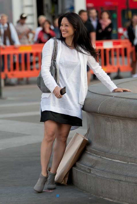 Lucy Liu sur le tournage de la série «Elementary» à Londres le 10 juillet.