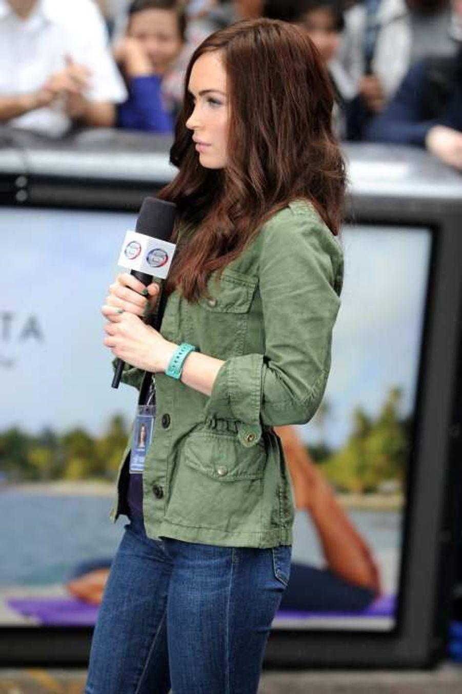 Megan Fox sur le tournage de «Teenage Mutant Ninja Turtles», à New York le 22 juillet.