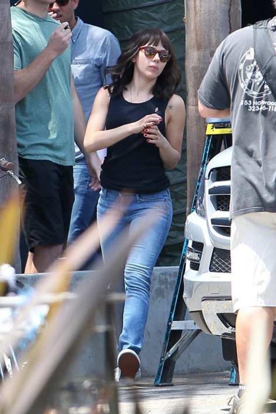 Scarlett Johansson sur le tournage de «Chef», de et avec Jon Favreau, à Los Angeles le 22 juillet.