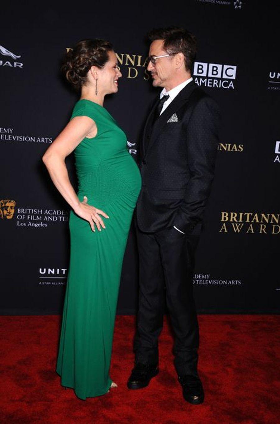 Aux BAFTA Awards de 2014 avec Susan Downey, enceinte de leur deuxième enfant