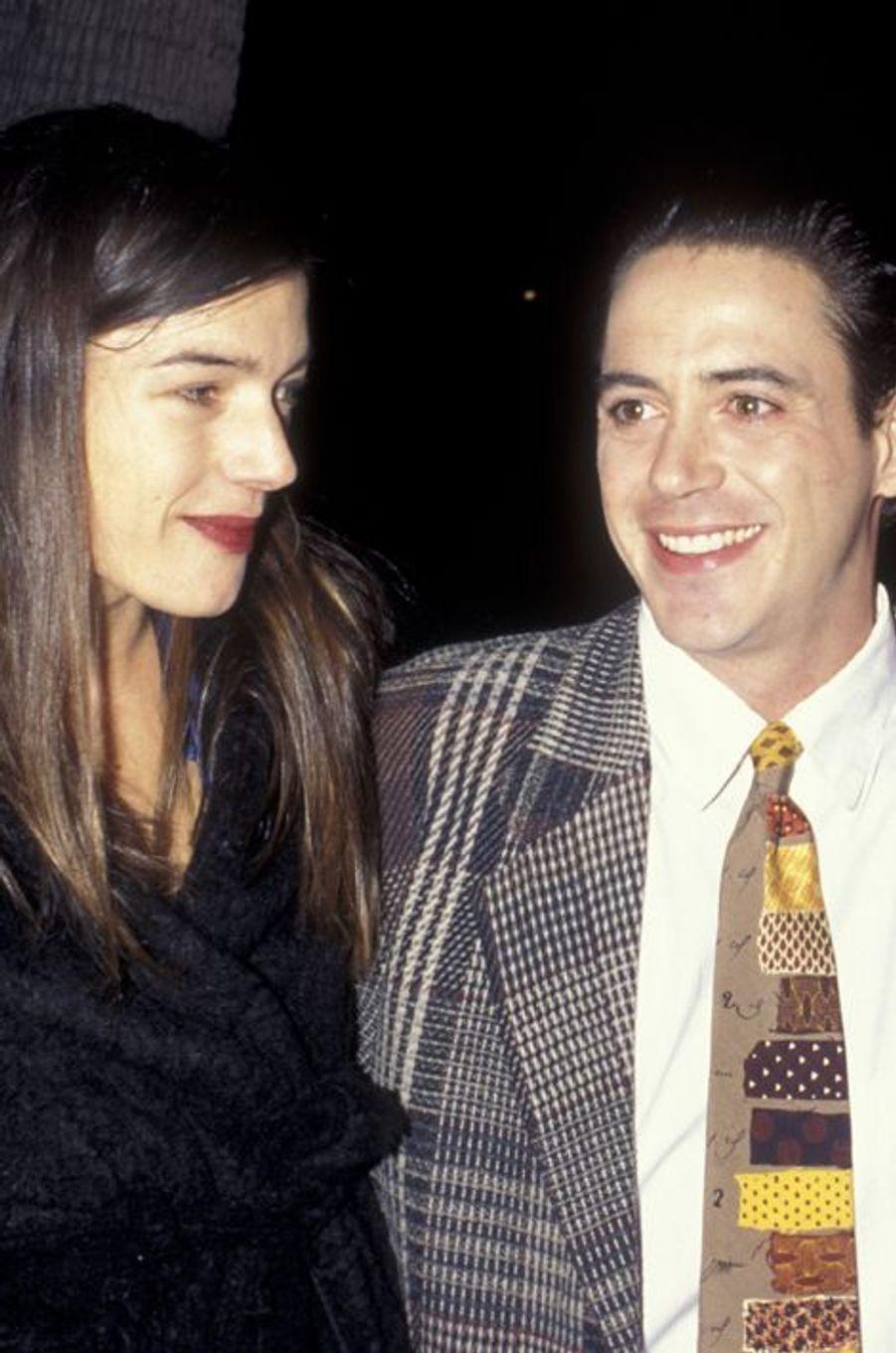 """Avec sa femme Deborah Falconer pour la première du """"Don du Roi"""" en 1995"""