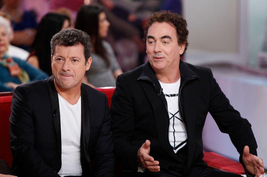Les Chevaliers du Fiel lors de l'enregistrement de Vivement Dimanche Victor Lanoux, le 12 novembre 2014