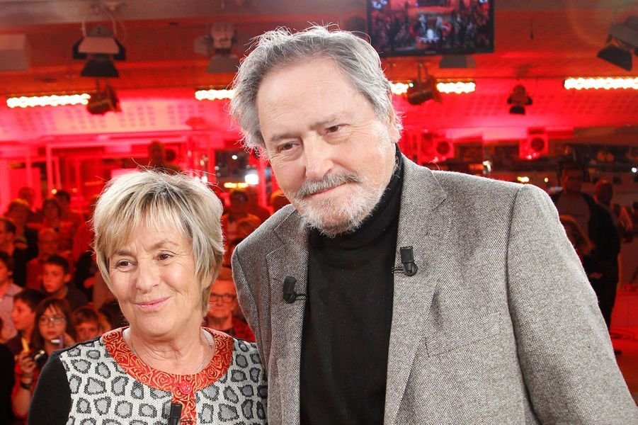 Victor Lanoux et sa femme lors de l'enregistrement de Vivement Dimanche, le 12 novembre 2014