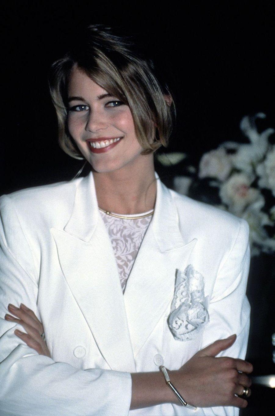 Claudia Schiffer lors de l'inauguration d'un parfum Guess à New York en 1990