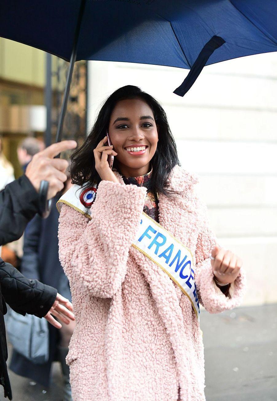Clémence Botino, Miss France 2020, à Paris le 16 décembre 2019