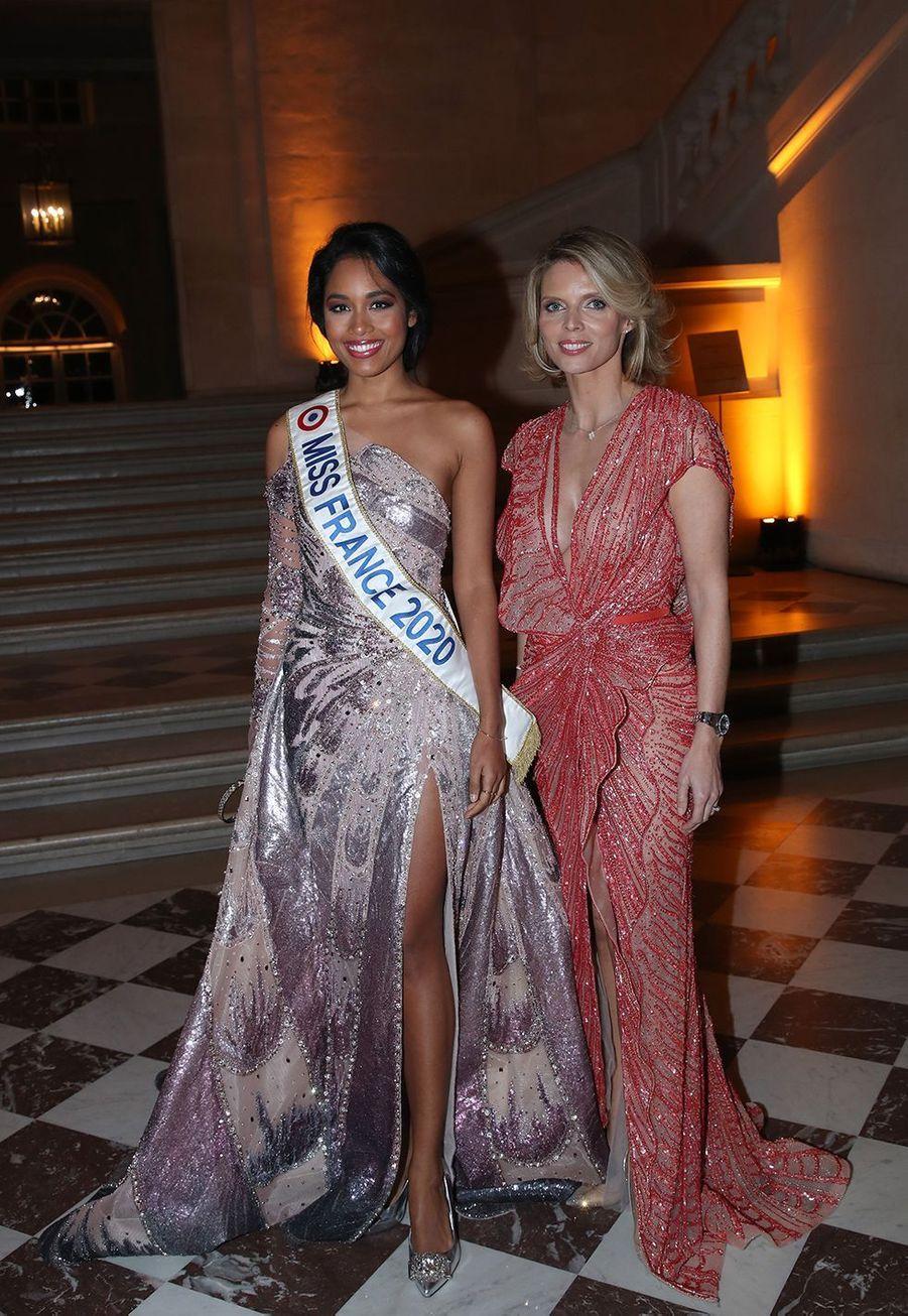 Clémence Botino et Sylvie Tellier au galade la charte de Paris contre le cancer au château de Versailles le 3 février 2020.