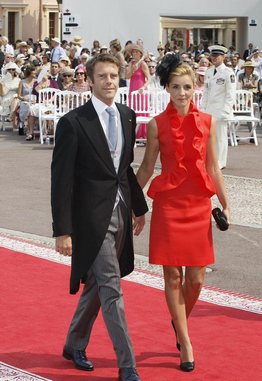 Emmanuel Philibert de Savoie et la princesse Clotilde arrivent pour le dîner officiel du Prince Albert II de Monaco et de Charlene Wittstock à l'Opéra de Monte-Carlo le 2 juillet 2011.