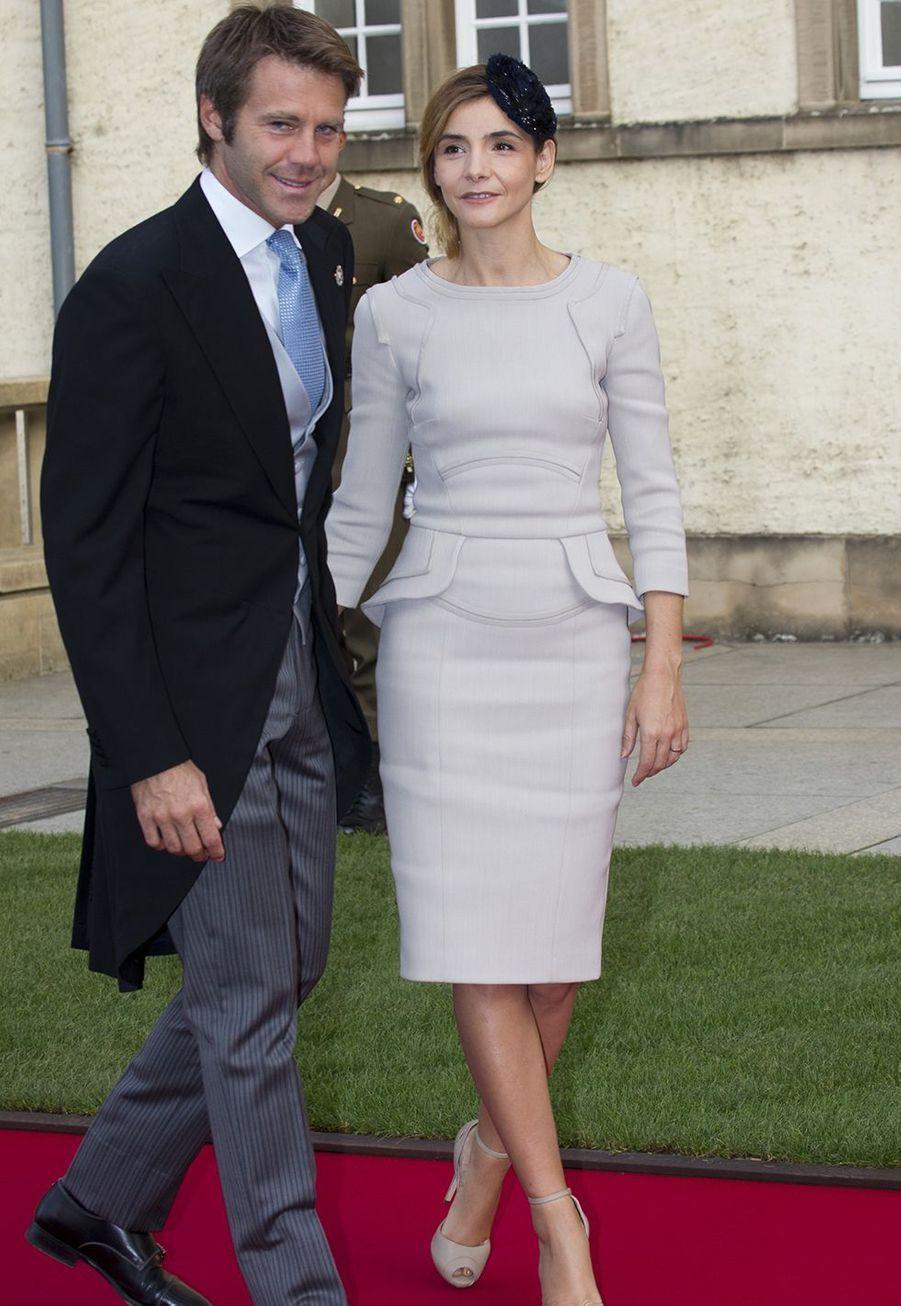 Le prince Emmanuel-Philibert de Savoie et Clotilde Courau le 20 octobre 2012 pour le mariage du grand-duc Guillaume et la comtesse Stéphanie de Lannoy au Luxembourg.