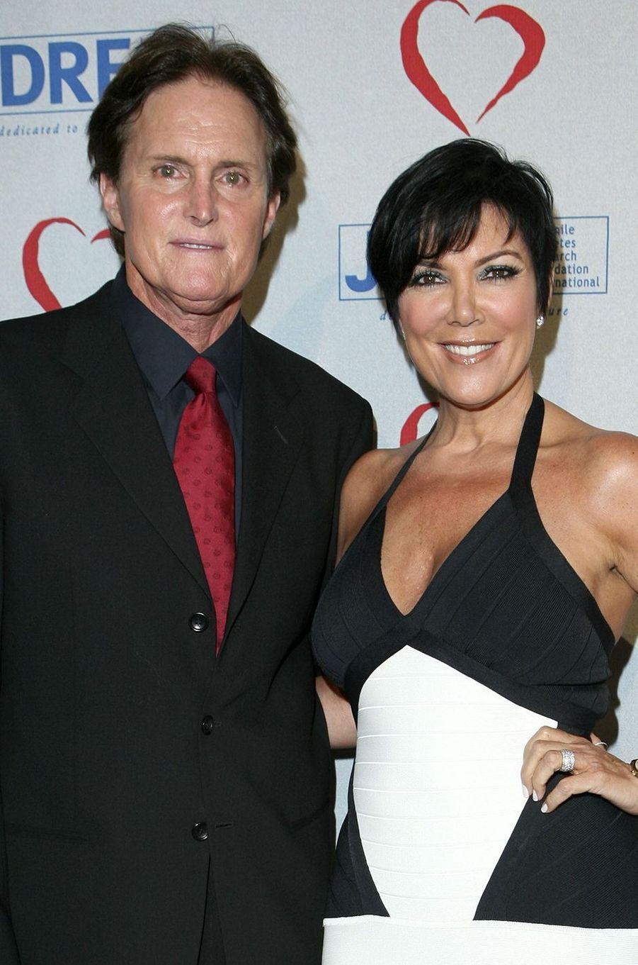 Bruce et Kris Jenner lors d'une levée de fonds pour une association à Beverly Hills en mai 2008