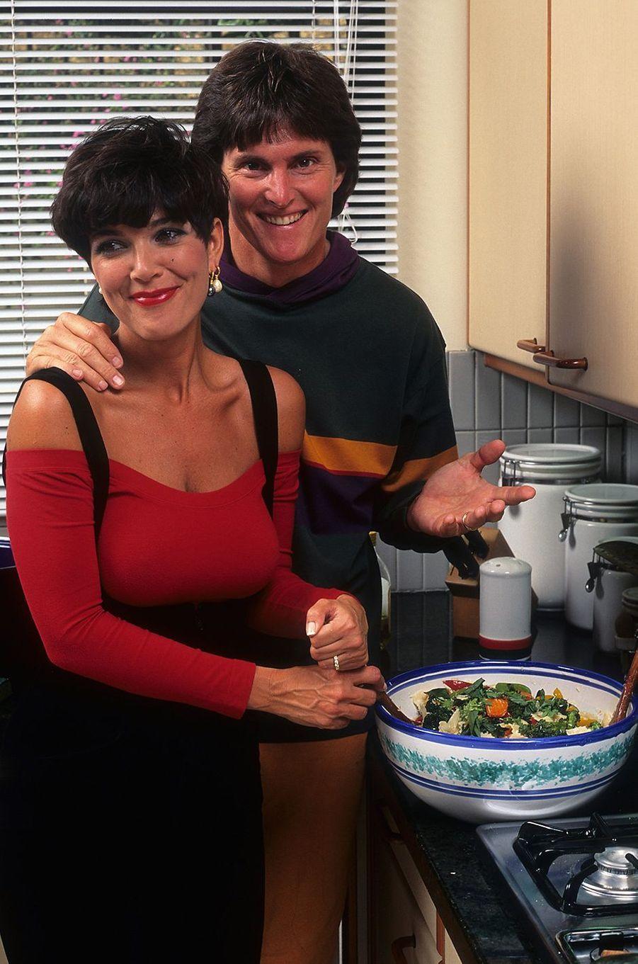 Kris et Bruce Jenner lors d'un shooting à Los Angeles en 1991