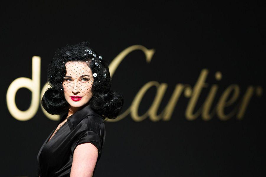 Dita von Teeseà la soirée Panthère de Cartier.