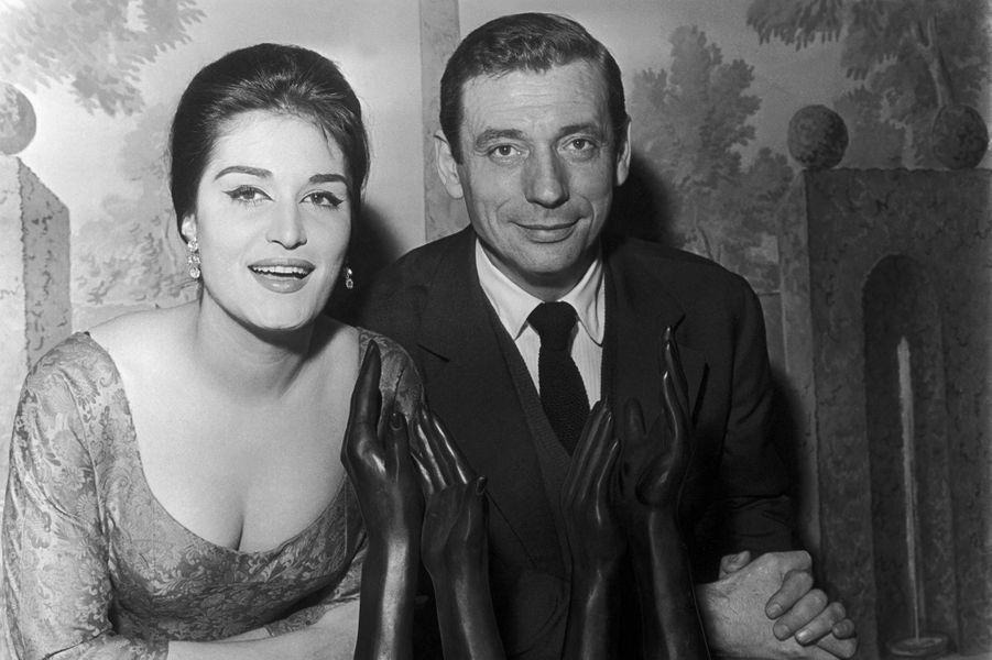 Dalida avec Yves Montand en 1959