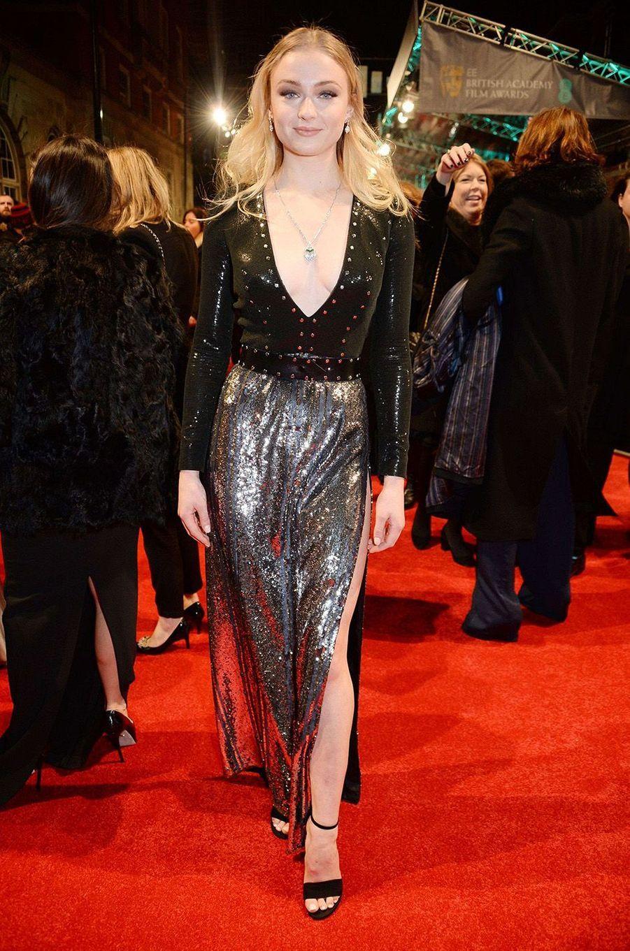 Sophie Turnersur le tapis rouge des BAFTA 2017, le dimanche 12 février 2017.