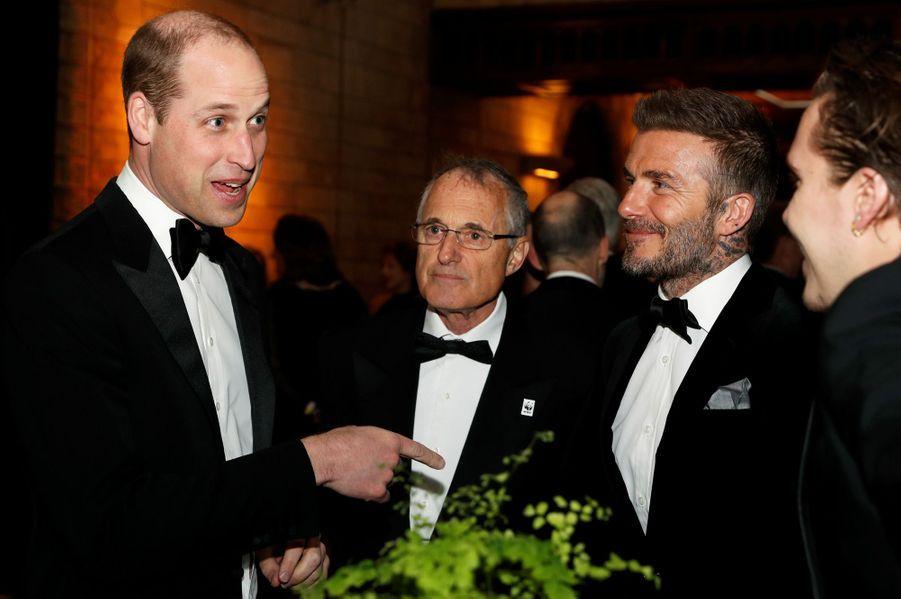 David Beckham, son fils Brooklyn et le prince William à Londres, le 4 avril 2019