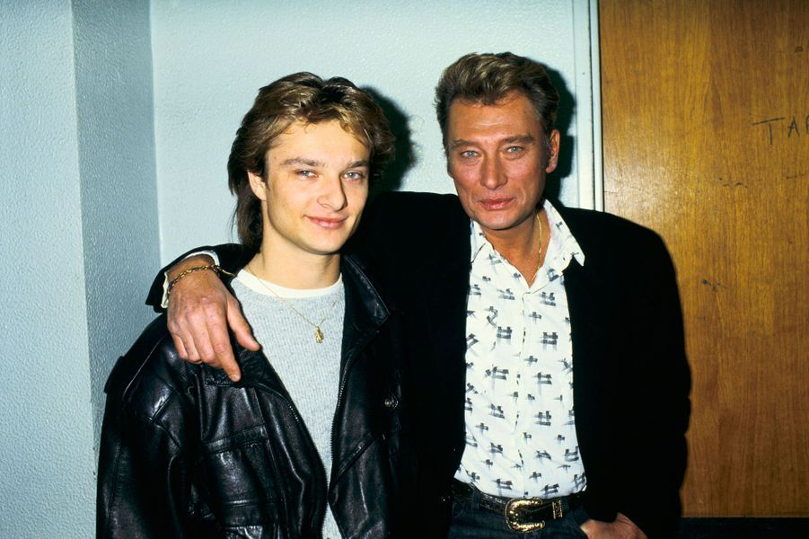 David Hallyday et Johnny Hallyday en 1987