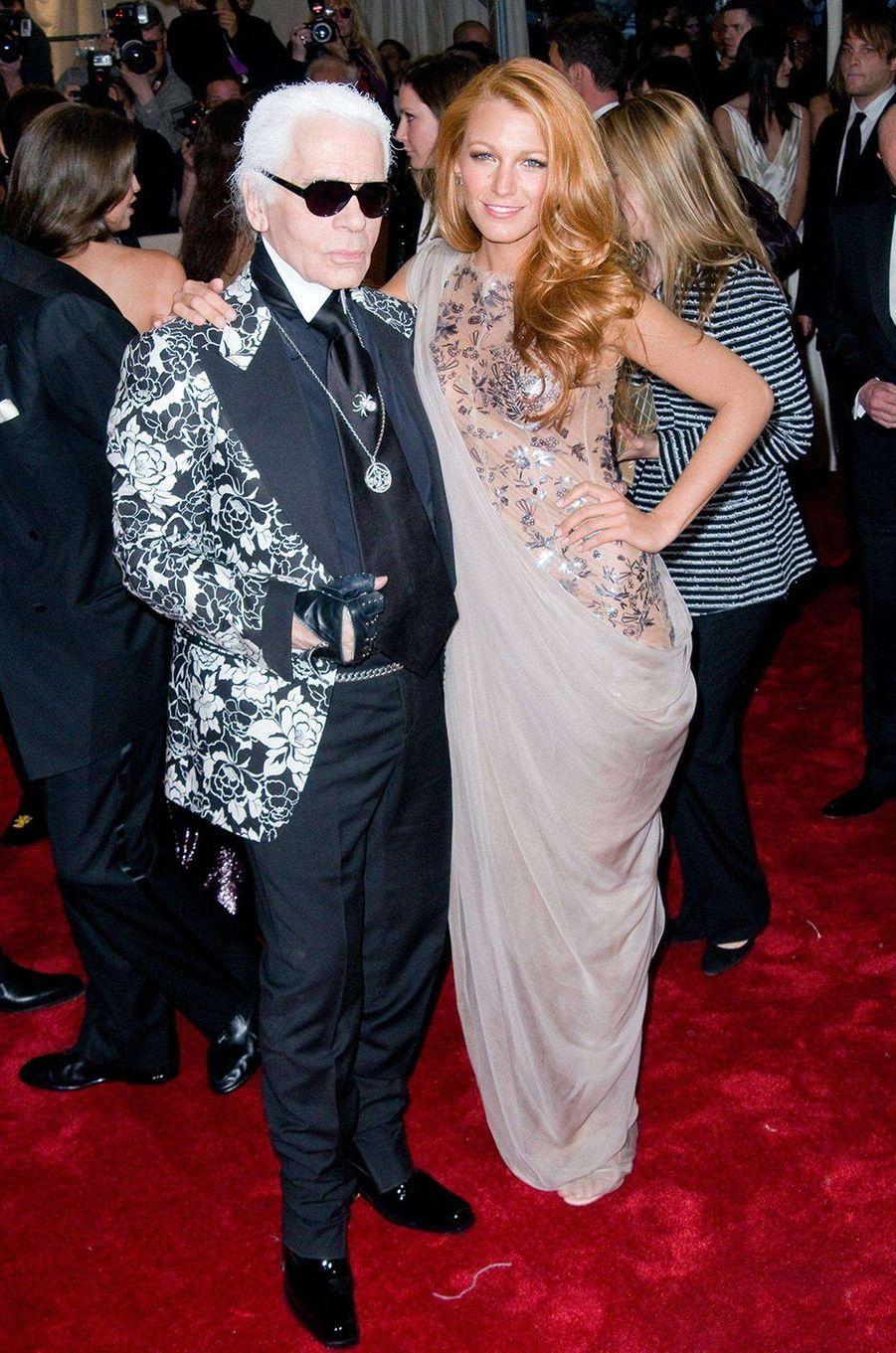 Karl Lagerfeld et Blake Lively au Met Gala 2011.