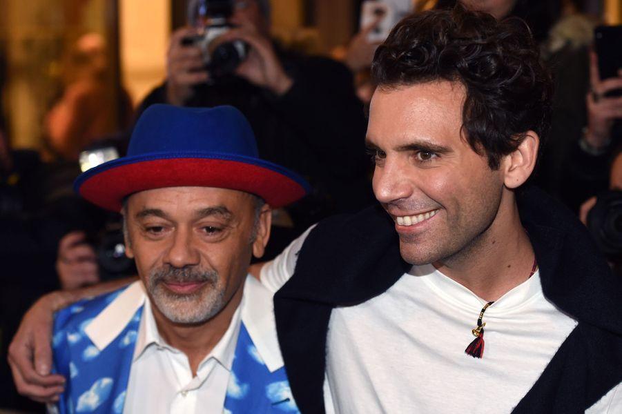 Christian Louboutin et Mika au défilé Jean Paul Gaultier