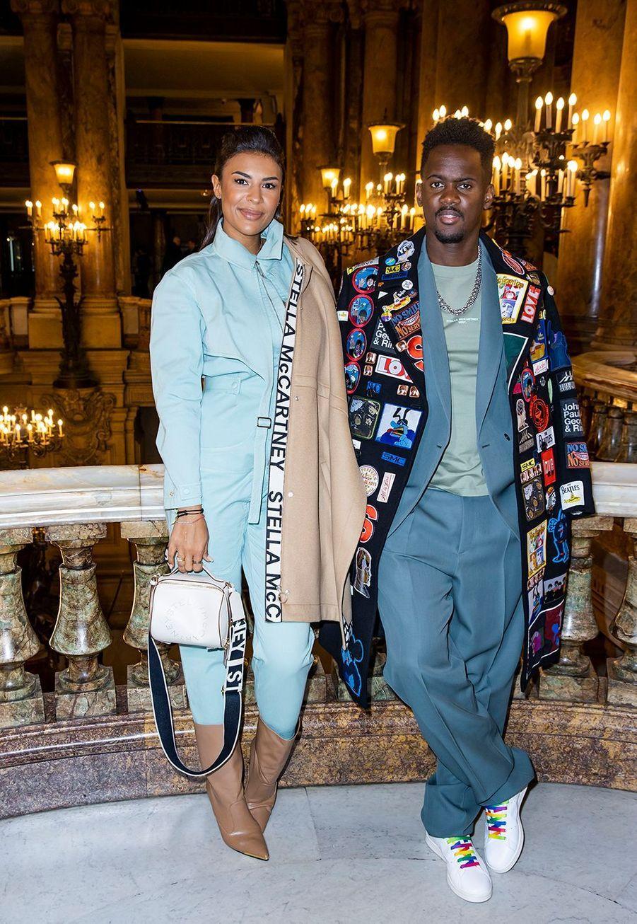 Black M et sa compagne Léa Djadjaau défilé Stella McCartney collection prêt-à-porter Automne/Hiver 2020-2021 à l'Opéra Garnier, le 2 mars 2020.