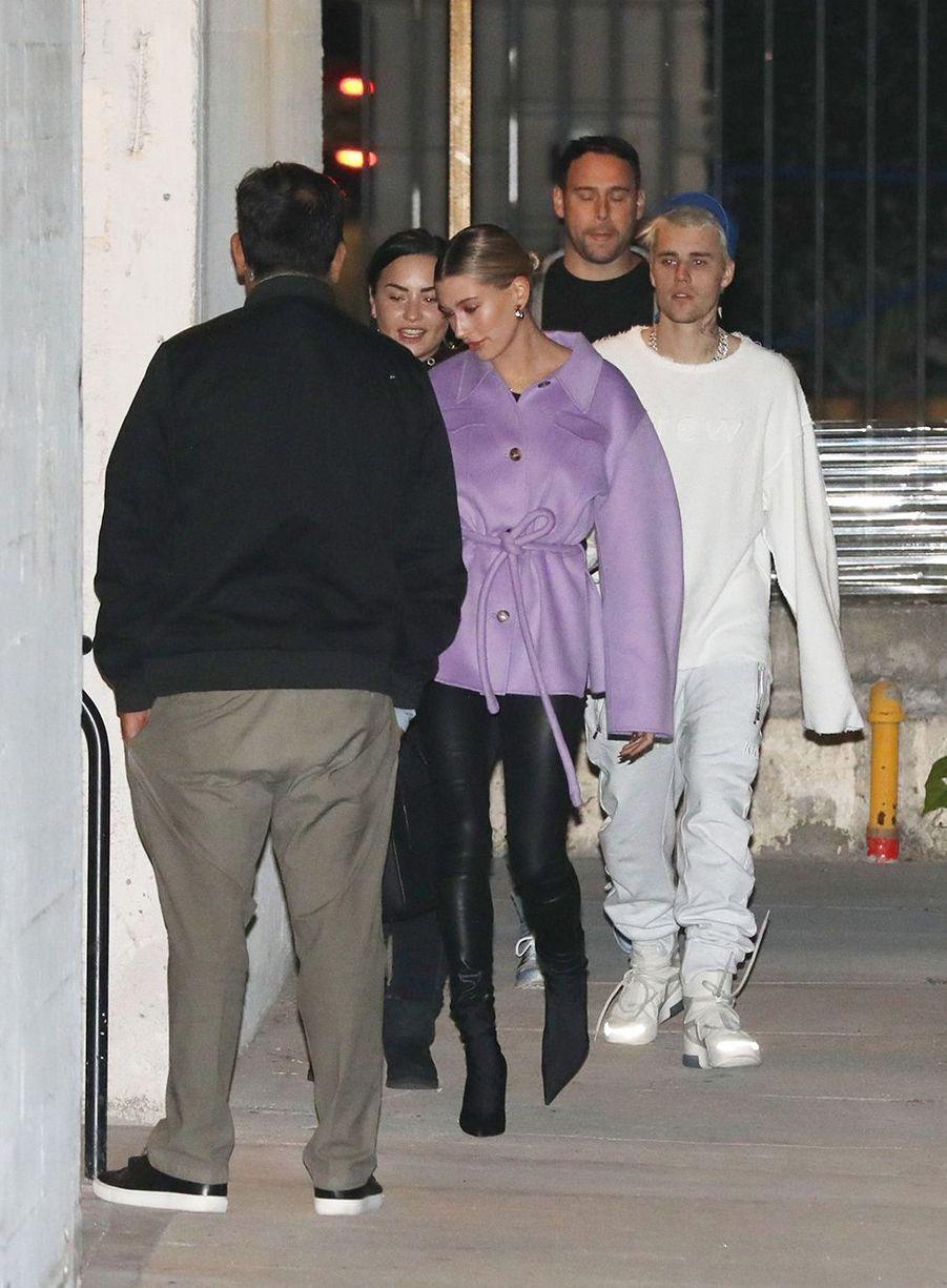 Demi Lovato, Hailey Baldwin, Justin Bieber et Scooter Braun à Los Angeles le 18 décembre 2019