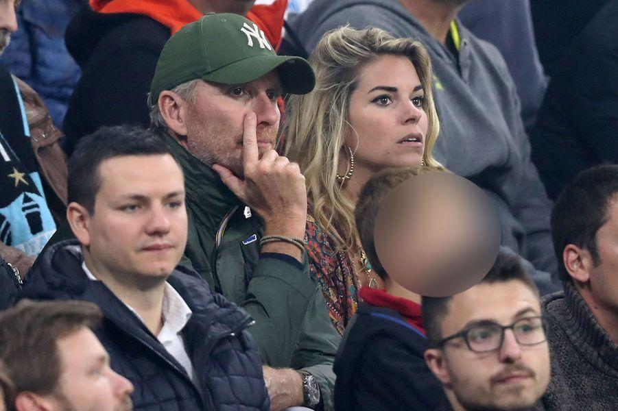 Denis Brogniart et Sophie Tapie dans les tribunes de OM-Atletico Madrid mercredi