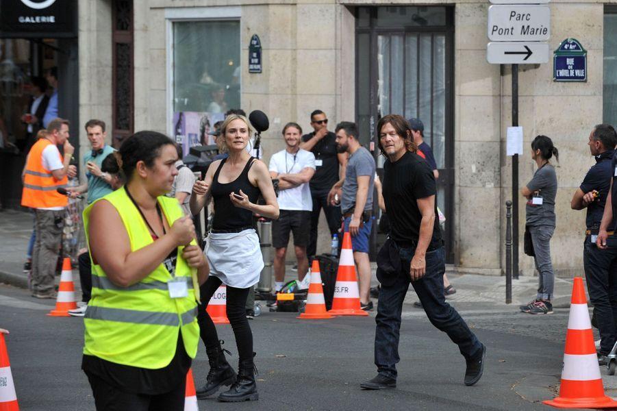 Diane Kruger et Norman Reedus sur le tournage du film «355» à Paris le 11 juillet 2019