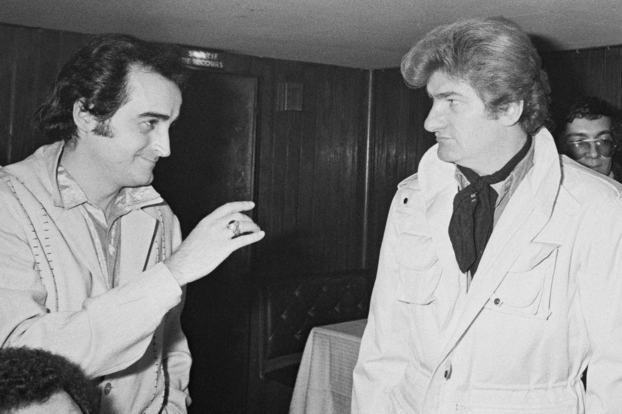 Dick Rivers et Eddy Mitchell lors d'une soirée parisienne en 1981