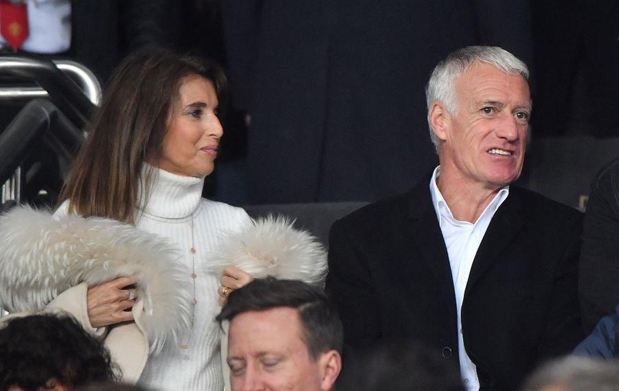 Didier Deschamps et sa femme Claude dans les tribunes du parc des Princes, le 6 mars 2019