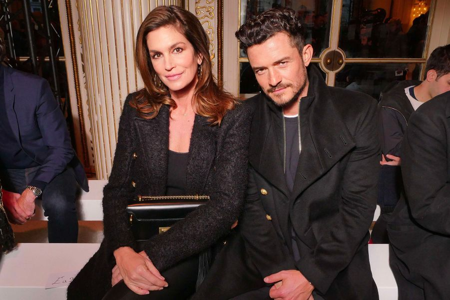 Cindy Crawford et Orlando Bloom au défilé Balmain