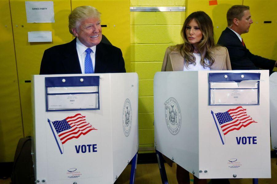 Melania et Donald Trump au moment du vote, le 8 novembre 2016.