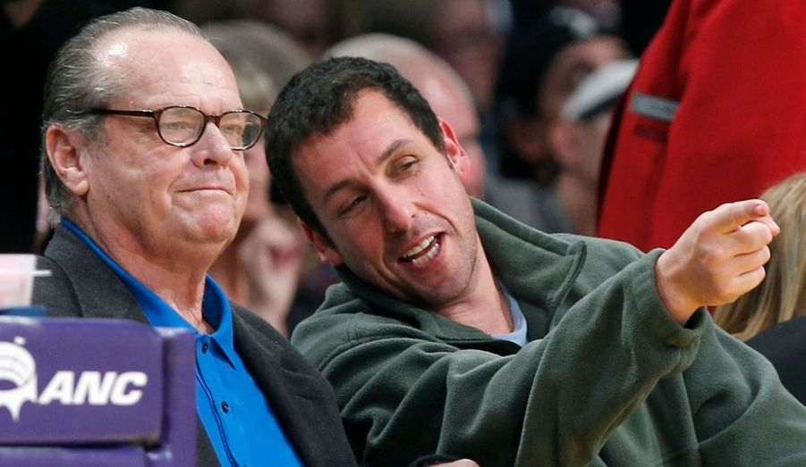 Jack Nicholson et Adam Sandler, lors du match opposant les Knicks de New York aux Los Angeles Lakers.