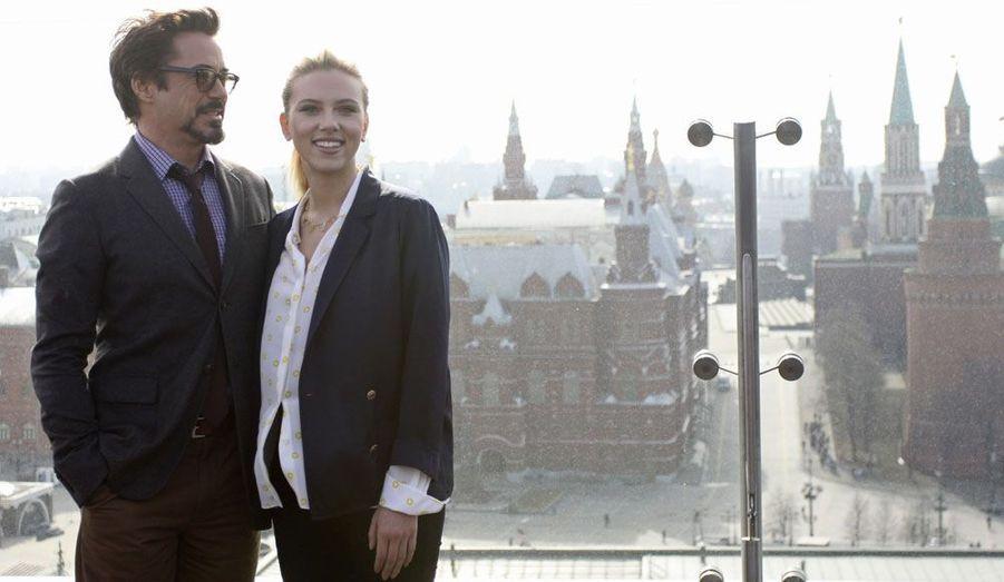 Les comédiens Robert Downey Jr. et Scarlett Johansson assurent à Moscou la promotion de «The Avengers».