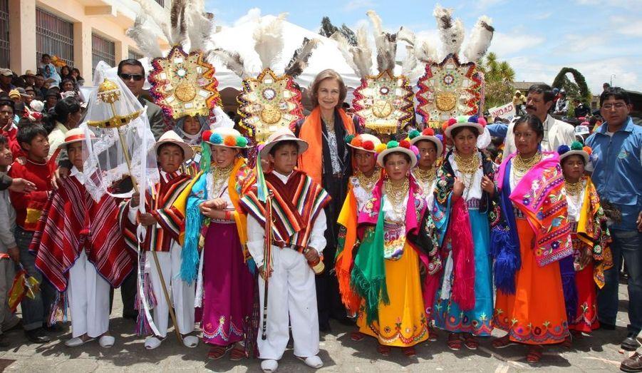 La reine Sofia d'Espagne a effectué une tournée de trois jours en Equateur. Au programme, rencontre avec le président Rafael Correa, développement de projets de coopération entre les deux pays et fêtes folkloriques.