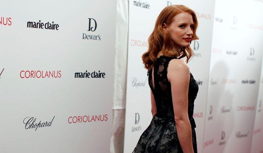 Jessica Chastain, star du prochain film de Ralph Fiennes, Coriolan, a assisté à l'avant-première à New York.