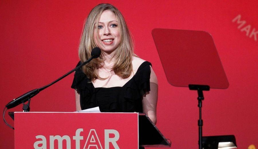 Chelsea Clinton, fille de l'ancien président des Etats-Unis Bill Clinton, au gala amfAR à New York.