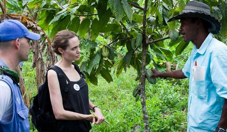 Dans le cadre de son nouveau rôle d'envoyée spéciale de Haut-Commissaire de l'ONU pour les réfugiés (HCR), Angelina Jolie a visité Barranca Bermeja. Situé sur les rives de la rivière San Miguel, qui marque la frontière entre l'Équateur et la Colombie, ce petit village accueille 50 familles, 60% d'entre elles étant des réfugiés colombiens.